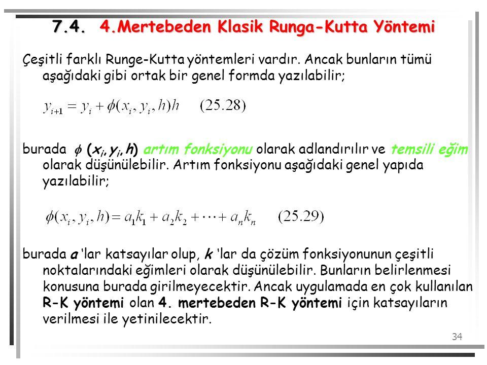 34 7.4. 4.Mertebeden Klasik Runga-Kutta Yöntemi Çeşitli farklı Runge-Kutta yöntemleri vardır. Ancak bunların tümü aşağıdaki gibi ortak bir genel formd