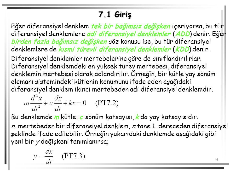 4 7.1 Giriş Eğer diferansiyel denklem tek bir bağımsız değişken içeriyorsa, bu tür diferansiyel denklemlere adi diferansiyel denklemler (ADD) denir. E