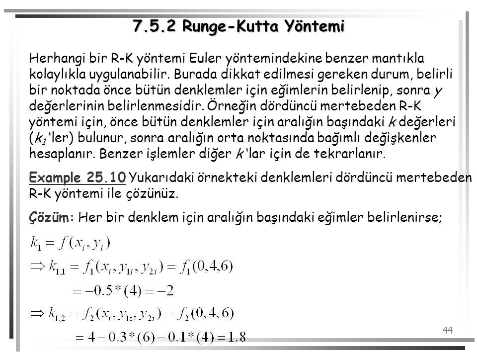 44 Herhangi bir R-K yöntemi Euler yöntemindekine benzer mantıkla kolaylıkla uygulanabilir. Burada dikkat edilmesi gereken durum, belirli bir noktada ö