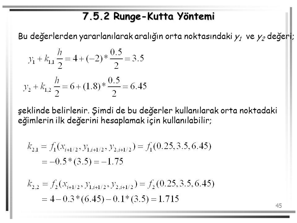 45 7.5.2 Runge-Kutta Yöntemi Bu değerlerden yararlanılarak aralığın orta noktasındaki y 1 ve y 2 değeri; şeklinde belirlenir. Şimdi de bu değerler kul