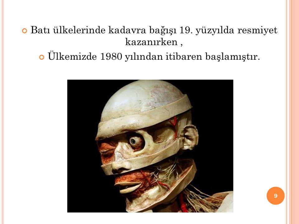 Batı ülkelerinde kadavra bağışı 19. yüzyılda resmiyet kazanırken, Ülkemizde 1980 yılından itibaren başlamıştır. 9