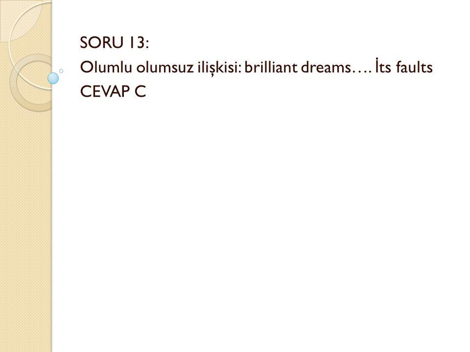 SORU 13: Olumlu olumsuz ilişkisi: brilliant dreams…. İ ts faults CEVAP C