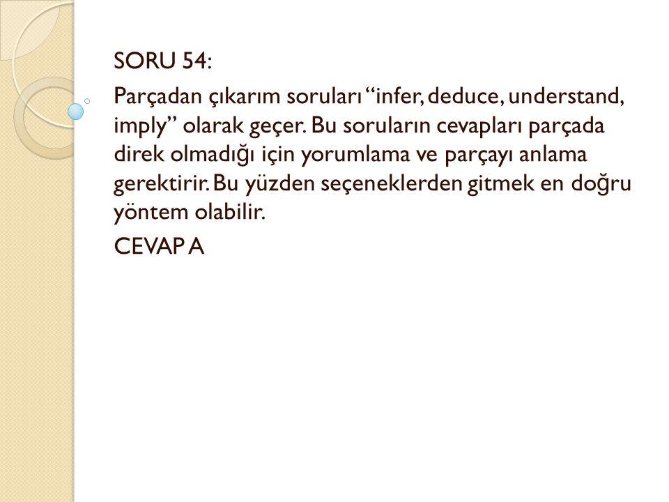 SORU 54: Parçadan çıkarım soruları infer, deduce, understand, imply olarak geçer.