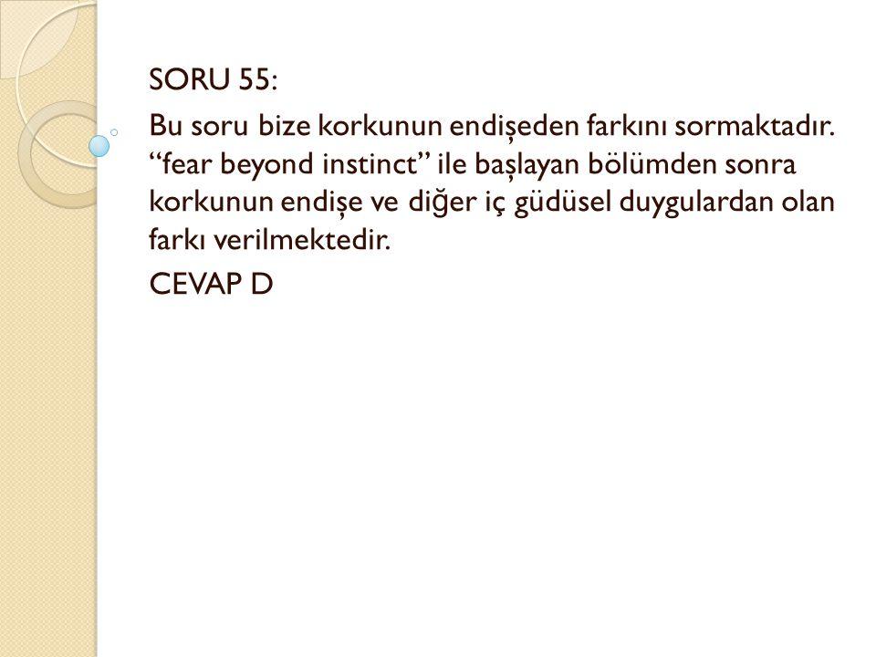 SORU 55: Bu soru bize korkunun endişeden farkını sormaktadır.