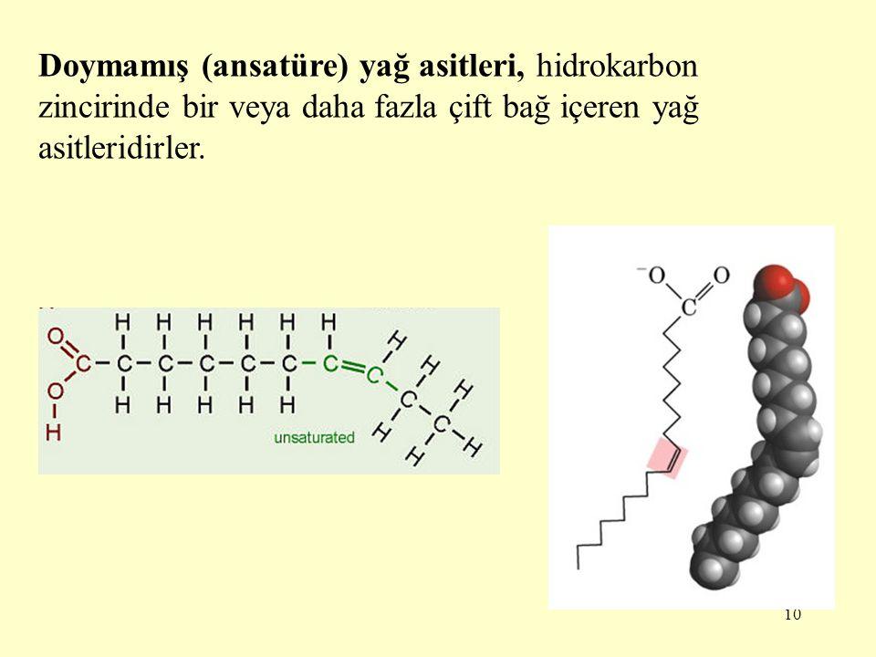 10 Doymamış (ansatüre) yağ asitleri, hidrokarbon zincirinde bir veya daha fazla çift bağ içeren yağ asitleridirler.