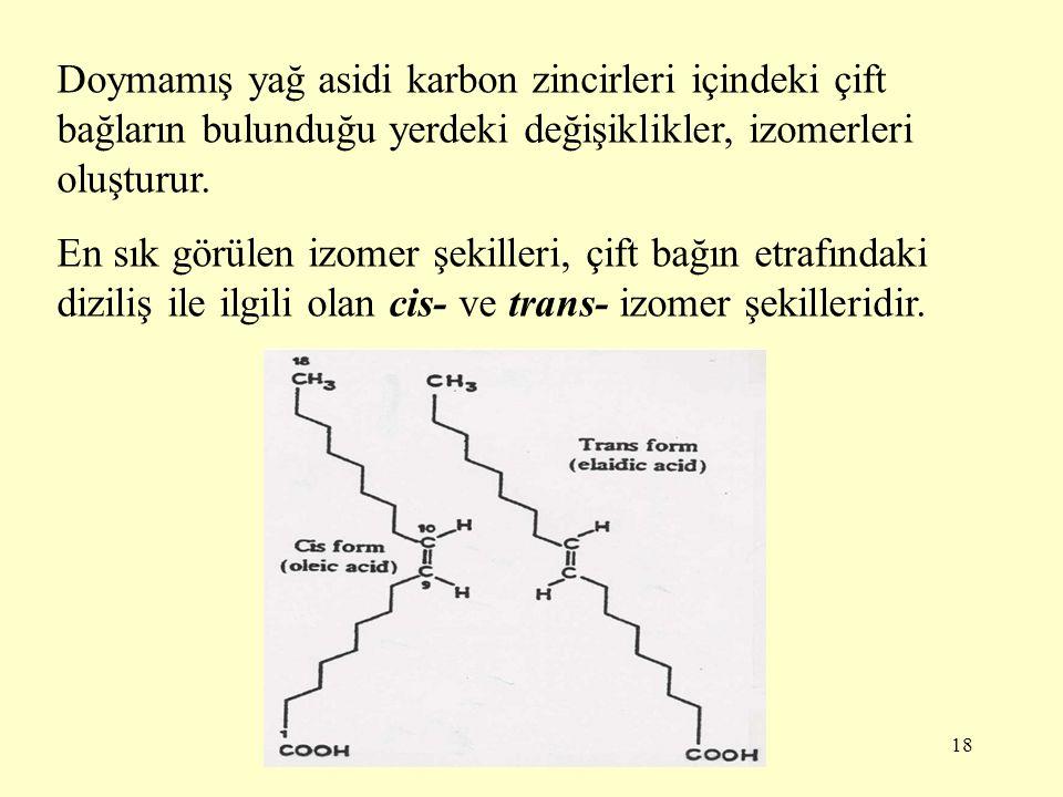 18 Doymamış yağ asidi karbon zincirleri içindeki çift bağların bulunduğu yerdeki değişiklikler, izomerleri oluşturur. En sık görülen izomer şekilleri,