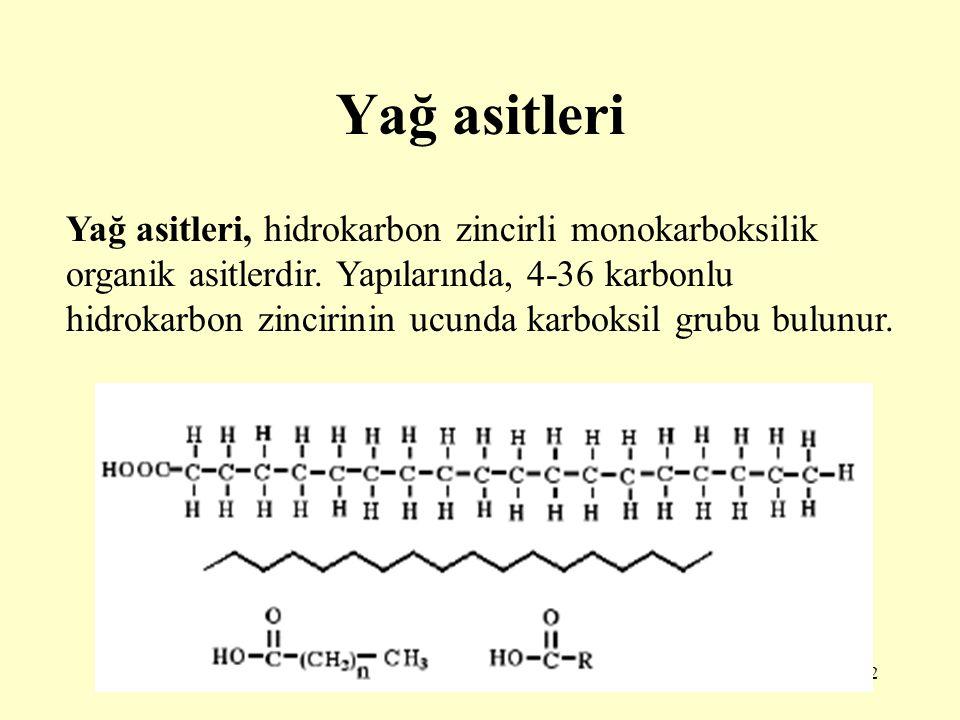 2 Yağ asitleri Yağ asitleri, hidrokarbon zincirli monokarboksilik organik asitlerdir. Yapılarında, 4-36 karbonlu hidrokarbon zincirinin ucunda karboks