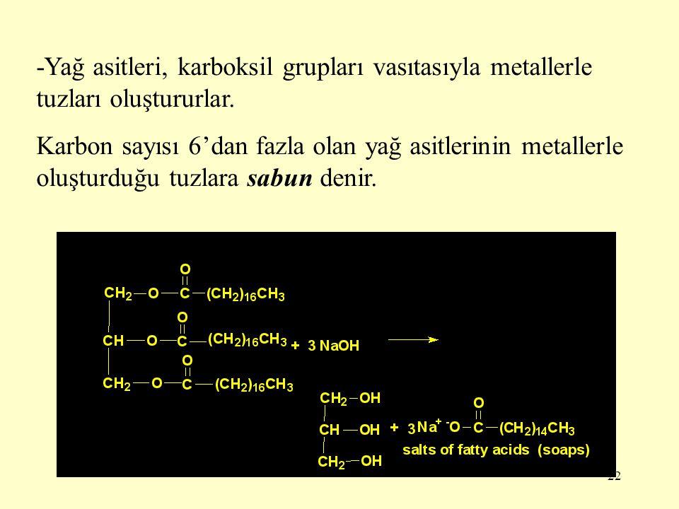 22 -Yağ asitleri, karboksil grupları vasıtasıyla metallerle tuzları oluştururlar. Karbon sayısı 6'dan fazla olan yağ asitlerinin metallerle oluşturduğ