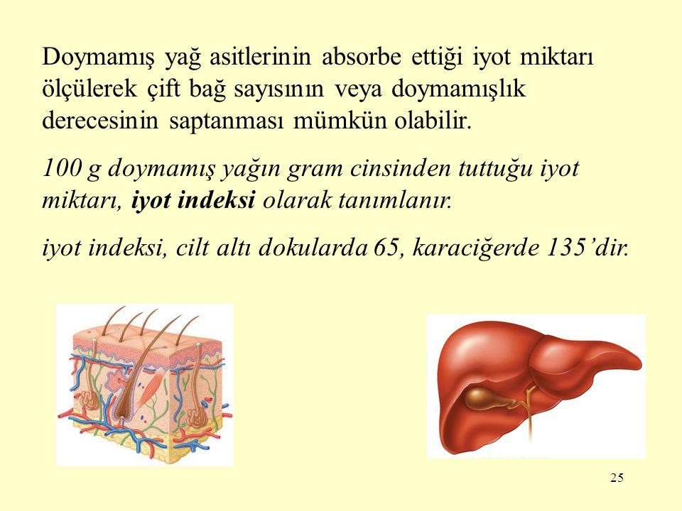 25 Doymamış yağ asitlerinin absorbe ettiği iyot miktarı ölçülerek çift bağ sayısının veya doymamışlık derecesinin saptanması mümkün olabilir. 100 g do