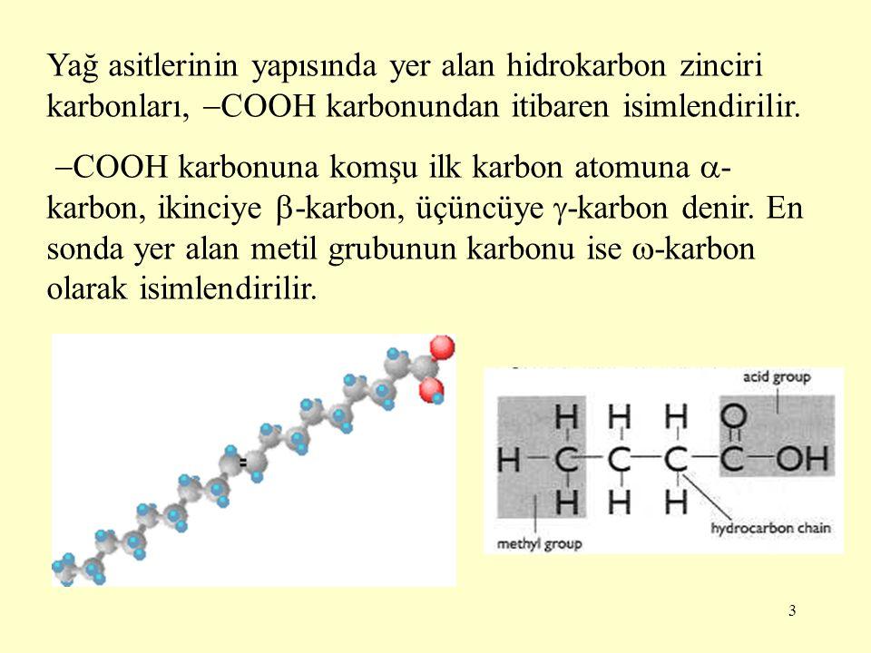 3 Yağ asitlerinin yapısında yer alan hidrokarbon zinciri karbonları,  COOH karbonundan itibaren isimlendirilir.  COOH karbonuna komşu ilk karbon ato