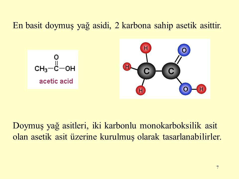 7 En basit doymuş yağ asidi, 2 karbona sahip asetik asittir. Doymuş yağ asitleri, iki karbonlu monokarboksilik asit olan asetik asit üzerine kurulmuş