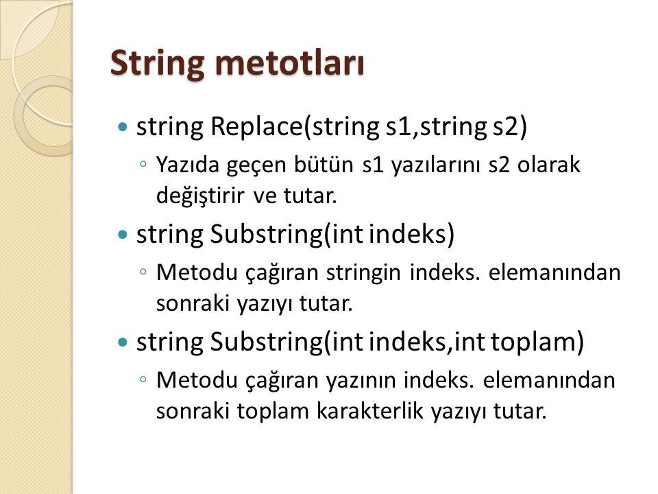 String metotları string Replace(string s1,string s2) ◦ Yazıda geçen bütün s1 yazılarını s2 olarak değiştirir ve tutar. string Substring(int indeks) ◦