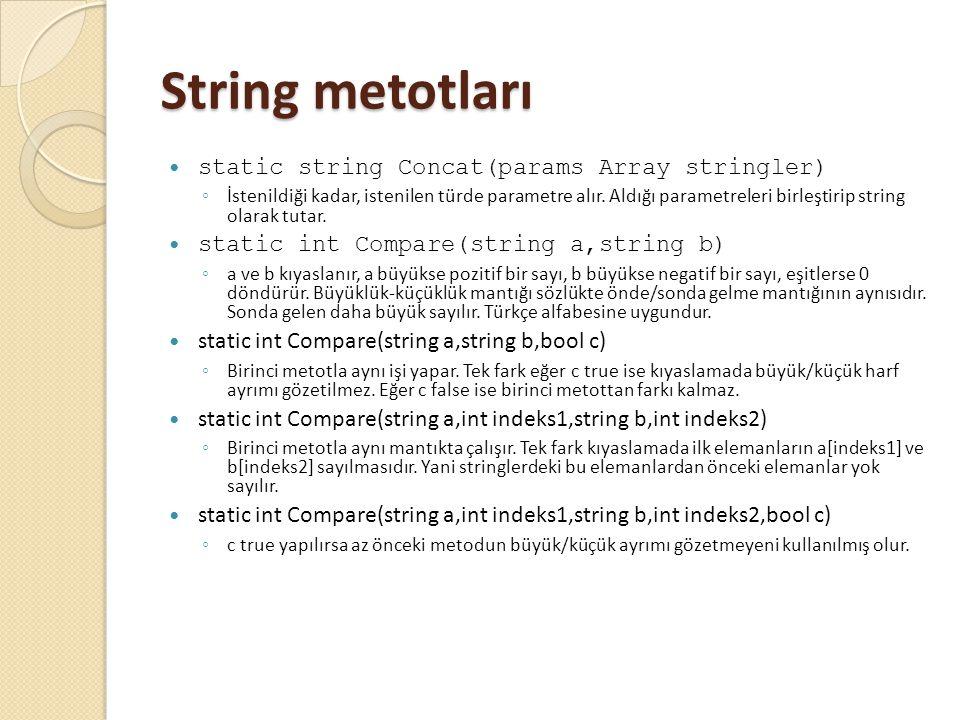 String metotları static string Concat(params Array stringler) ◦ İstenildiği kadar, istenilen türde parametre alır. Aldığı parametreleri birleştirip st