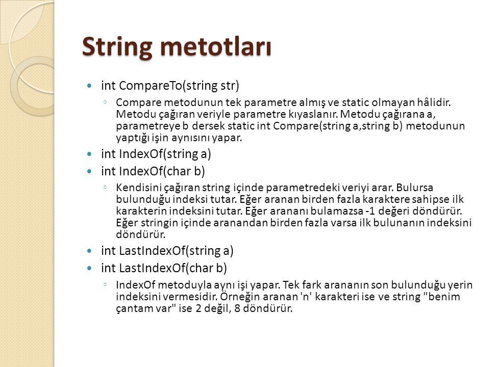 String metotları int CompareTo(string str) ◦ Compare metodunun tek parametre almış ve static olmayan hâlidir. Metodu çağıran veriyle parametre kıyasla