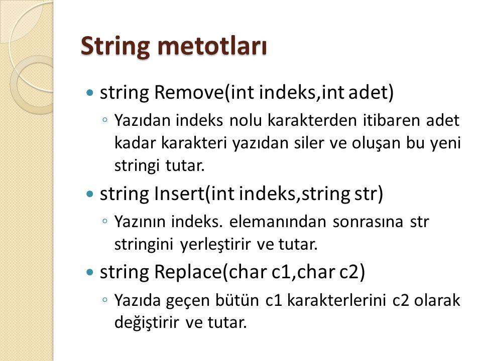 String metotları string Remove(int indeks,int adet) ◦ Yazıdan indeks nolu karakterden itibaren adet kadar karakteri yazıdan siler ve oluşan bu yeni st