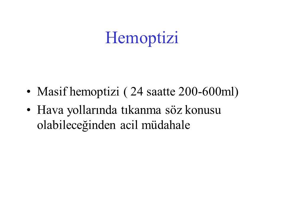 Hemoptizi Masif hemoptizi ( 24 saatte 200-600ml) Hava yollarında tıkanma söz konusu olabileceğinden acil müdahale