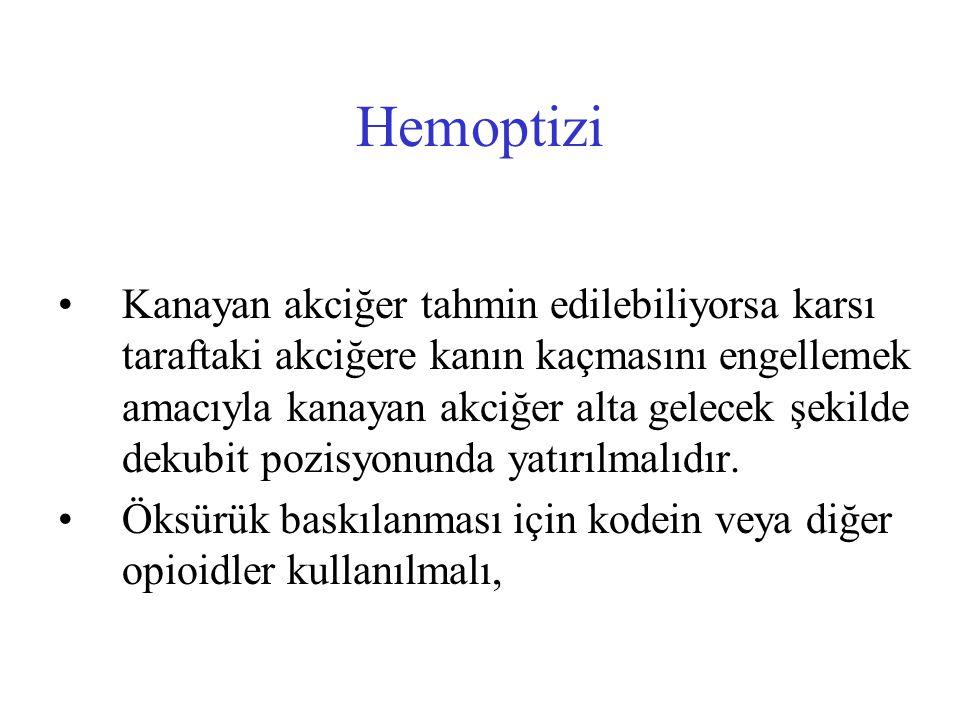 Hemoptizi Kanayan akciğer tahmin edilebiliyorsa karsı taraftaki akciğere kanın kaçmasını engellemek amacıyla kanayan akciğer alta gelecek şekilde deku