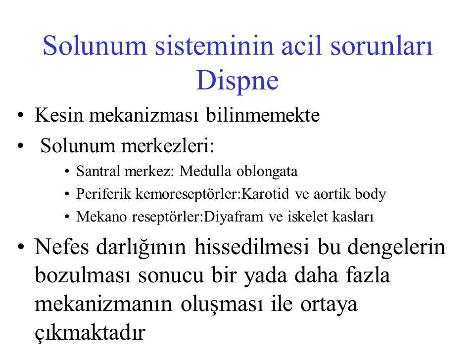 Solunum sisteminin acil sorunları Dispne Kesin mekanizması bilinmemekte Solunum merkezleri: Santral merkez: Medulla oblongata Periferik kemoreseptörle
