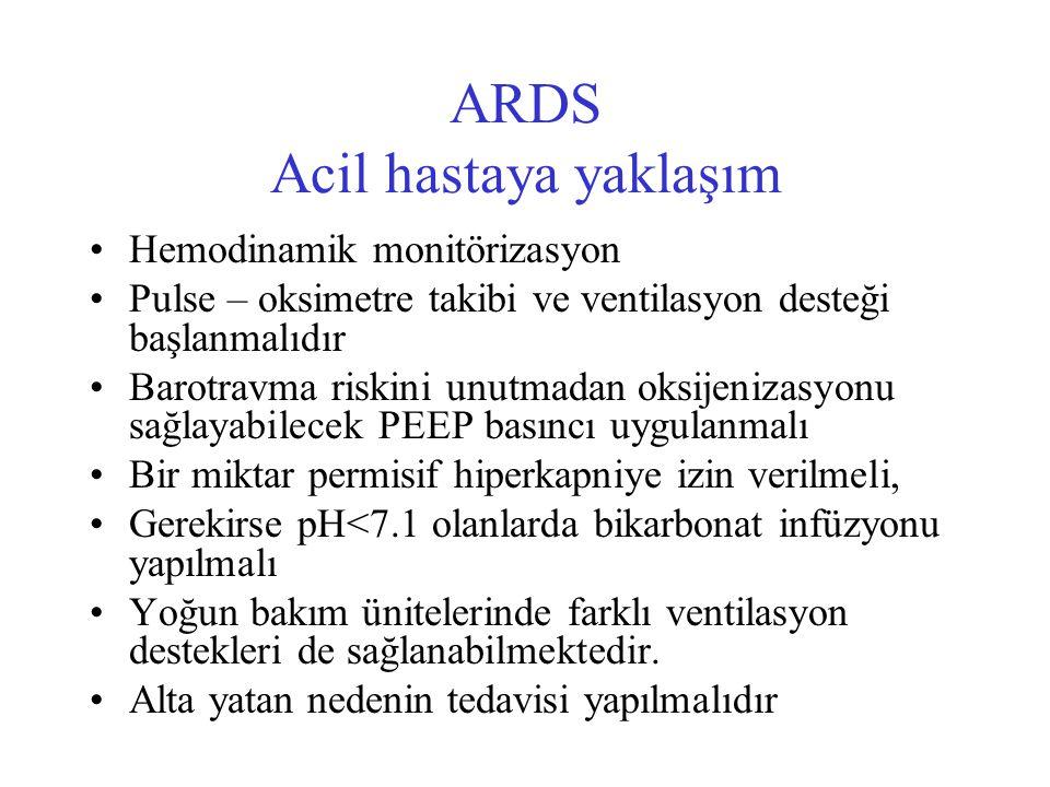 ARDS Acil hastaya yaklaşım Hemodinamik monitörizasyon Pulse – oksimetre takibi ve ventilasyon desteği başlanmalıdır Barotravma riskini unutmadan oksij