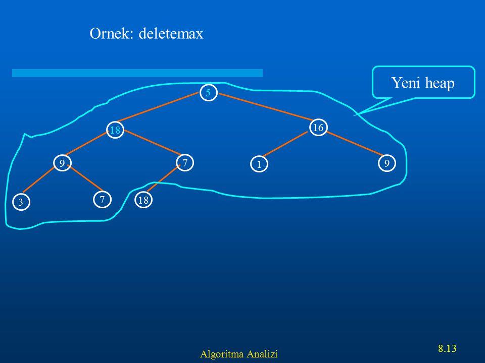 Algoritma Analizi 8.13 5 16 9 7 18 3 7 1 9 Ornek: deletemax Yeni heap
