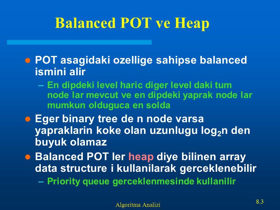 Algoritma Analizi 8.3 Balanced POT ve Heap POT asagidaki ozellige sahipse balanced ismini alir –En dipdeki level haric diger level daki tum node lar m
