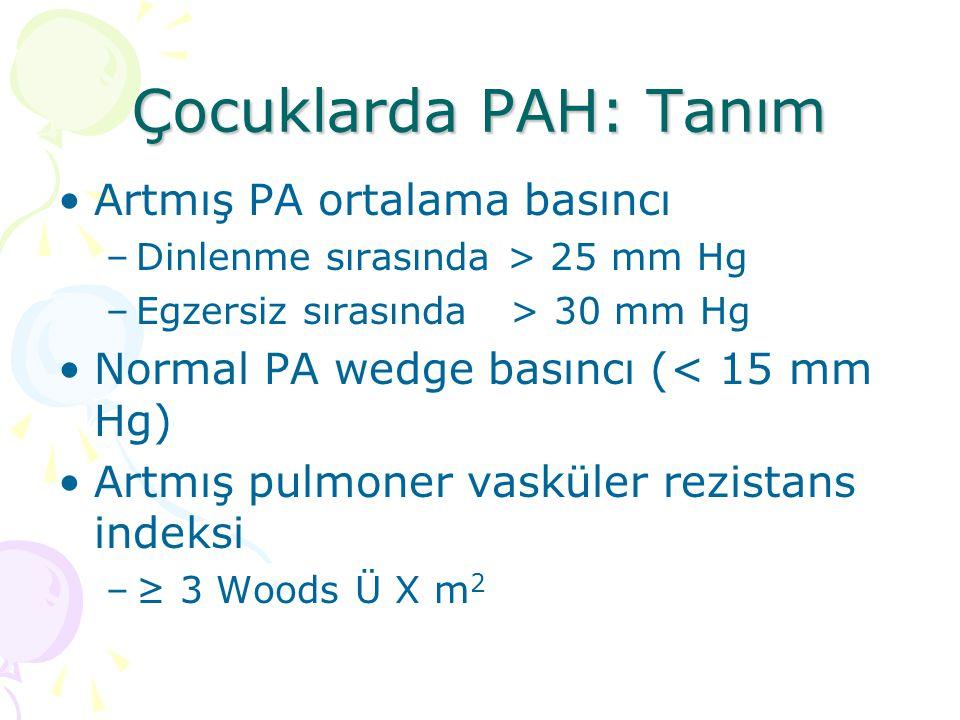 Çocuklarda PAH: Tanım Artmış PA ortalama basıncı –Dinlenme sırasında > 25 mm Hg –Egzersiz sırasında > 30 mm Hg Normal PA wedge basıncı (< 15 mm Hg) Ar