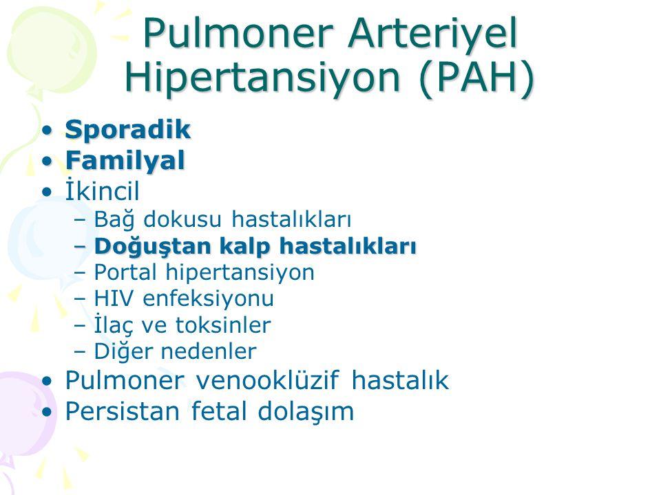 Pulmoner Arteriyel Hipertansiyon (PAH) SporadikSporadik FamilyalFamilyal İkincil –Bağ dokusu hastalıkları –Doğuştan kalp hastalıkları –Portal hipertan