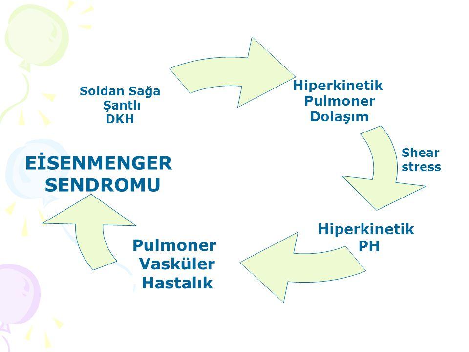 Hiperkinetik Pulmoner Dolaşım Hiperkinetik PH Pulmoner Vasküler Hastalık Soldan Sağa Şantlı DKH EİSENMENGER SENDROMU Shear stress
