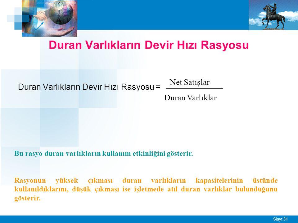 Slayt 31 Duran Varlıkların Devir Hızı Rasyosu Duran Varlıkların Devir Hızı Rasyosu = Net Satışlar Duran Varlıklar Bu rasyo duran varlıkların kullanım etkinliğini gösterir.