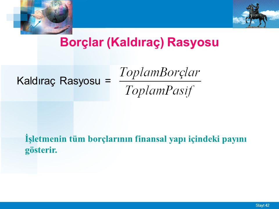 Slayt 42 Borçlar (Kaldıraç) Rasyosu Kaldıraç Rasyosu = İşletmenin tüm borçlarının finansal yapı içindeki payını gösterir.