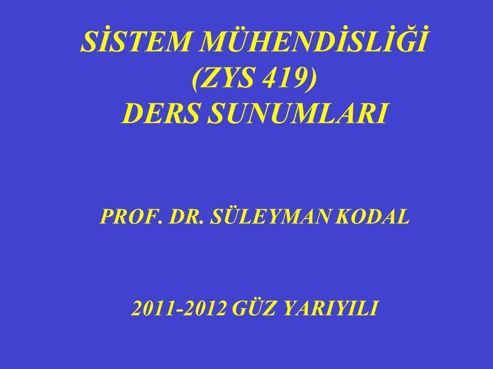 SİSTEM MÜHENDİSLİĞİ (ZYS 419) DERS SUNUMLARI PROF. DR. SÜLEYMAN KODAL 2011-2012 GÜZ YARIYILI
