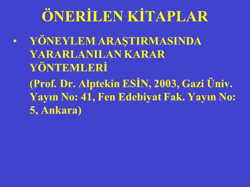 ÖNERİLEN KİTAPLAR YÖNEYLEM ARAŞTIRMASINDA YARARLANILAN KARAR YÖNTEMLERİ (Prof. Dr. Alptekin ESİN, 2003, Gazi Üniv. Yayın No: 41, Fen Edebiyat Fak. Yay