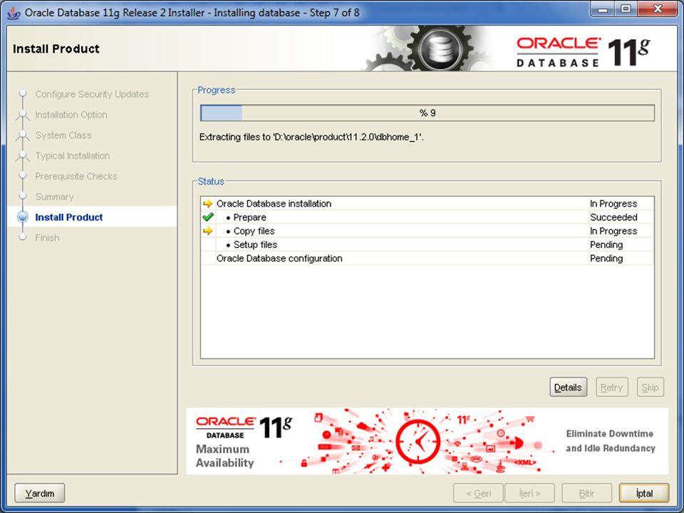 Database Configuration Assistant ile Veritabanı Oluşturma