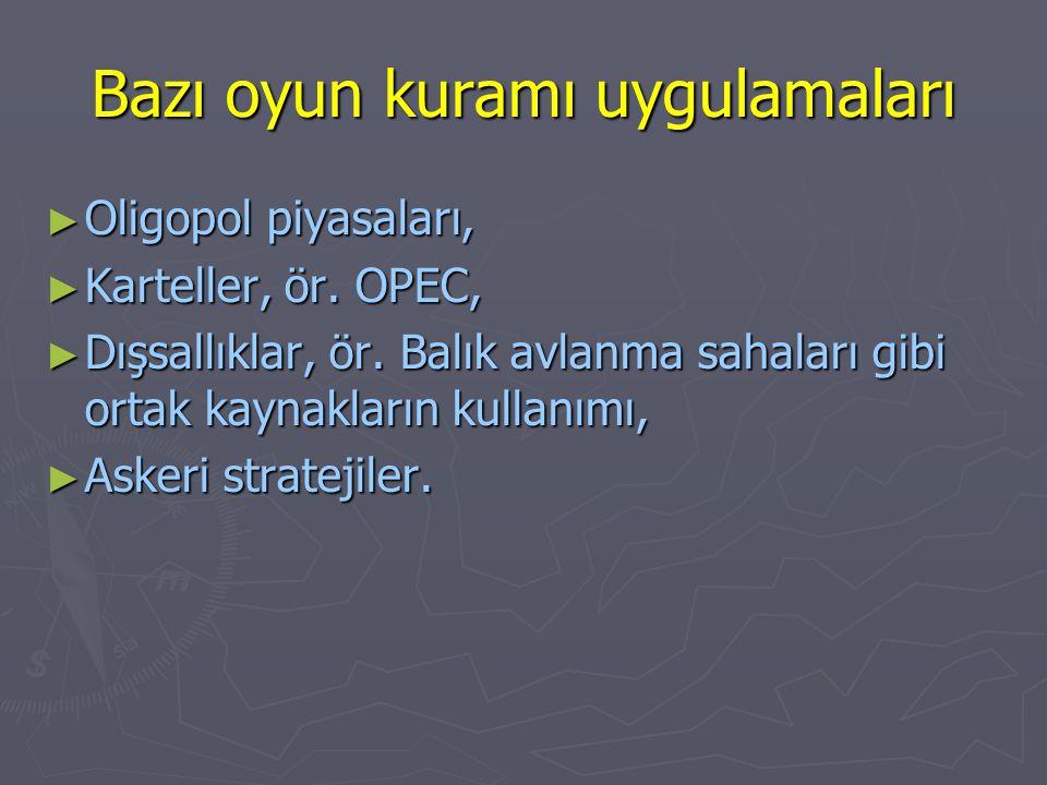 Bazı oyun kuramı uygulamaları ► Oligopol piyasaları, ► Karteller, ör. OPEC, ► Dışsallıklar, ör. Balık avlanma sahaları gibi ortak kaynakların kullanım