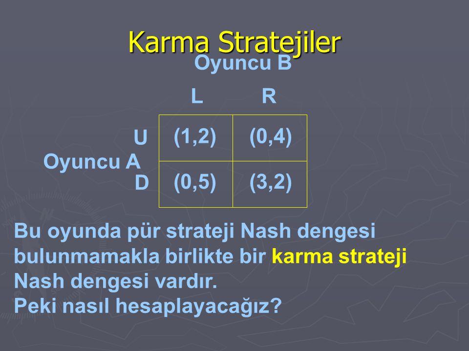 Karma Stratejiler Oyuncu A Bu oyunda pür strateji Nash dengesi bulunmamakla birlikte bir karma strateji Nash dengesi vardır. Peki nasıl hesaplayacağız
