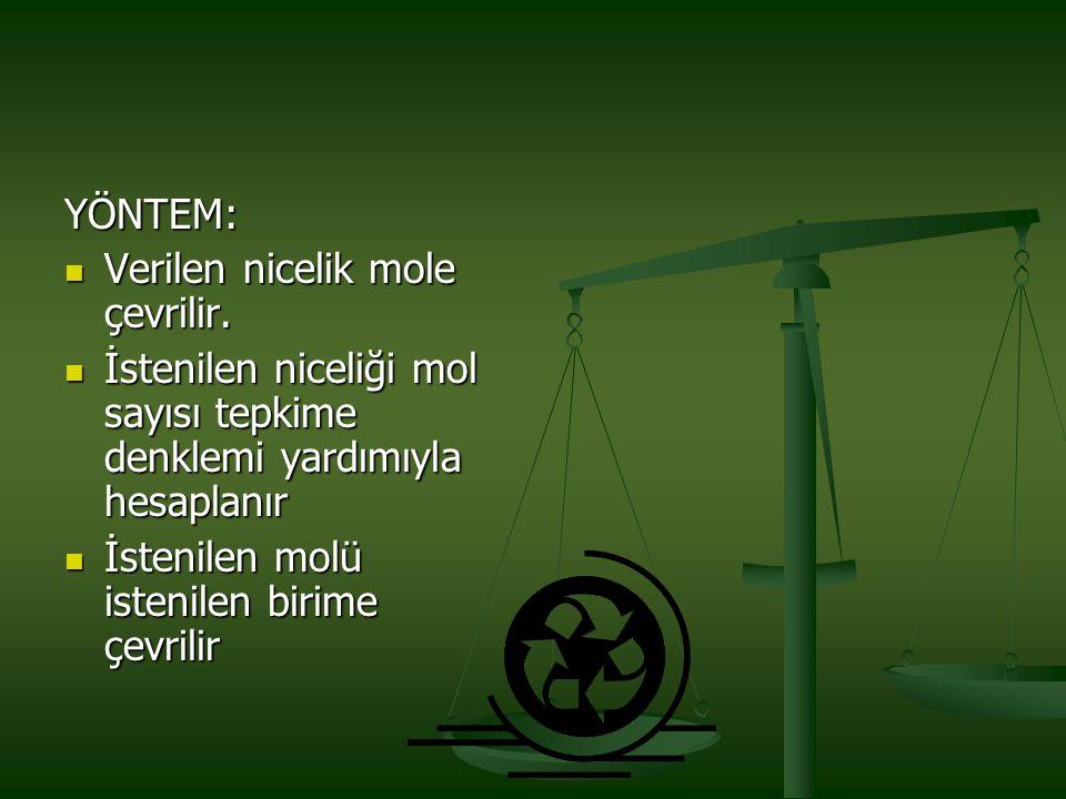 YÖNTEM: Verilen nicelik mole çevrilir. Verilen nicelik mole çevrilir. İstenilen niceliği mol sayısı tepkime denklemi yardımıyla hesaplanır İstenilen n