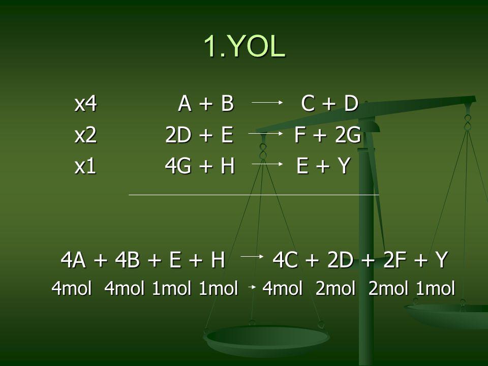 3.AŞIRI MADDE PROBLEMLERİ Tanım: Bu problemde reaksiyona giren maddelerin ikisinin de miktarı verilir.