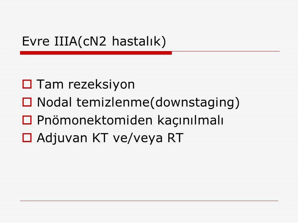 Evre IIIA(cN2 hastalık)  Tam rezeksiyon  Nodal temizlenme(downstaging)  Pnömonektomiden kaçınılmalı  Adjuvan KT ve/veya RT