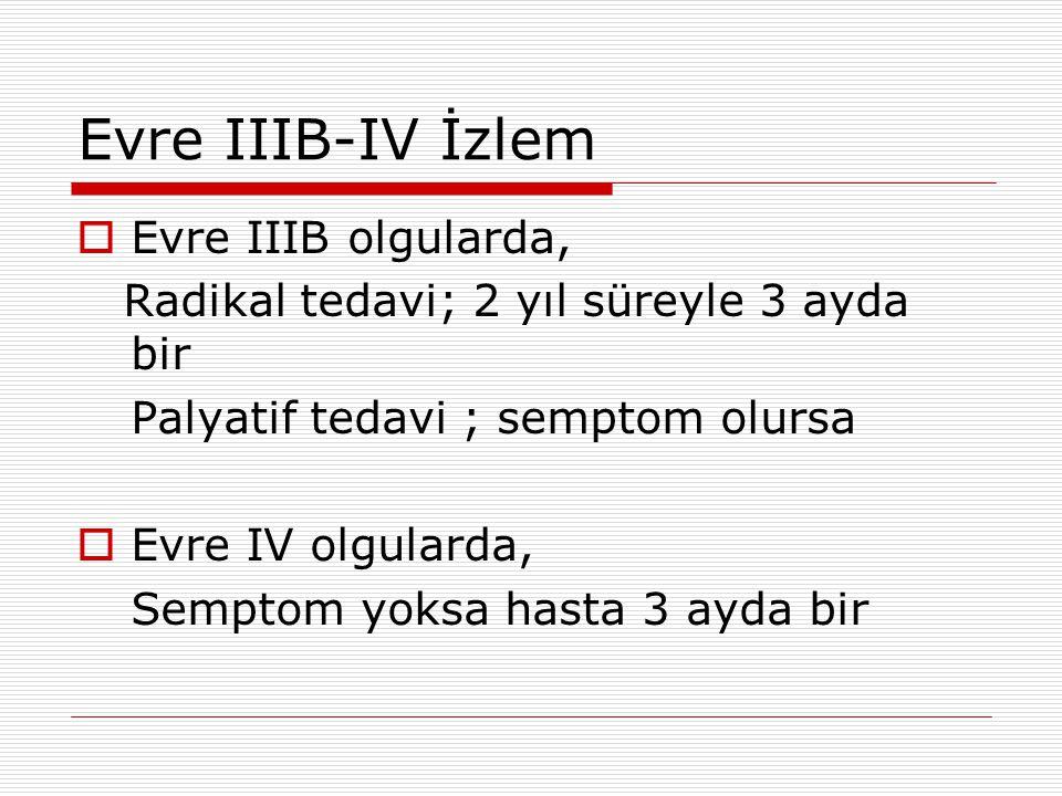 Evre IIIB-IV İzlem  Evre IIIB olgularda, Radikal tedavi; 2 yıl süreyle 3 ayda bir Palyatif tedavi ; semptom olursa  Evre IV olgularda, Semptom yoksa