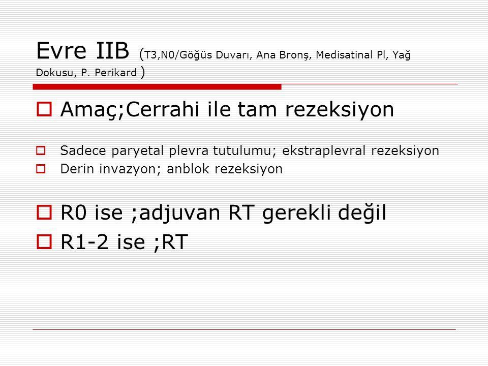 Evre IIB ( T3,N0/Göğüs Duvarı, Ana Bronş, Medisatinal Pl, Yağ Dokusu, P. Perikard )  Amaç;Cerrahi ile tam rezeksiyon  Sadece paryetal plevra tutulum