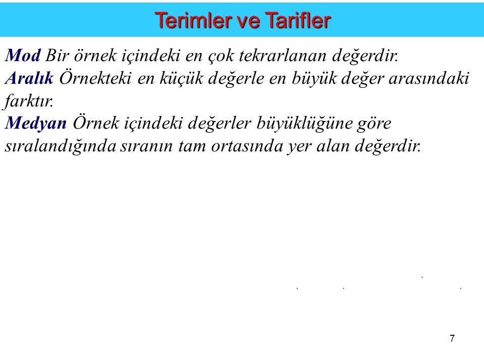 7....Terimler ve Tarifler Mod Bir örnek içindeki en çok tekrarlanan değerdir.