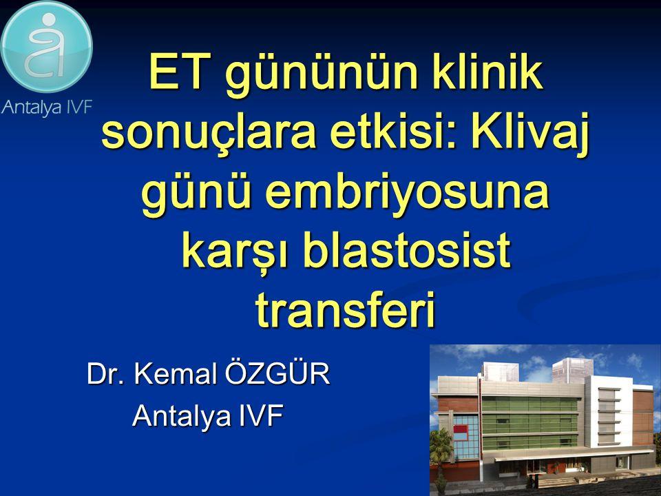 ET gününün klinik sonuçlara etkisi: Klivaj günü embriyosuna karşı blastosist transferi Dr. Kemal ÖZGÜR Antalya IVF
