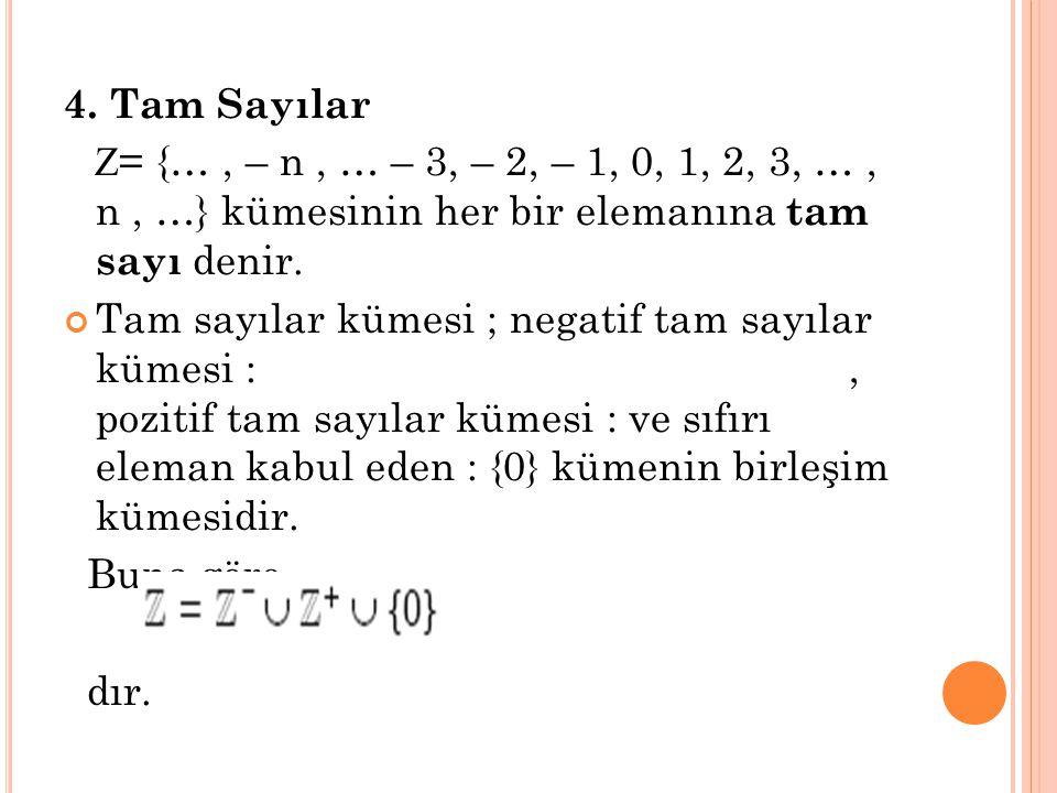 4. Tam Sayılar Z = {…, – n, … – 3, – 2, – 1, 0, 1, 2, 3, …, n, …} kümesinin her bir elemanına t am sayı denir. Tam sayılar kümesi ; negatif tam sayıla