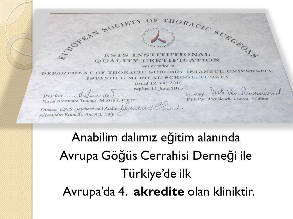 Anabilim dalımız e ğ itim alanında Avrupa Gö ğ üs Cerrahisi Derne ğ i ile Türkiye'de ilk Avrupa'da 4.