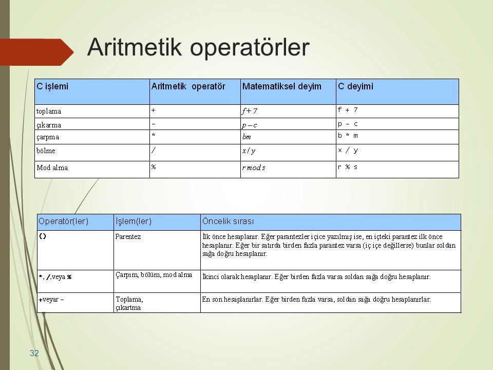 Aritmetik operatörler  Operatörlerin öncelik kuralları: 32