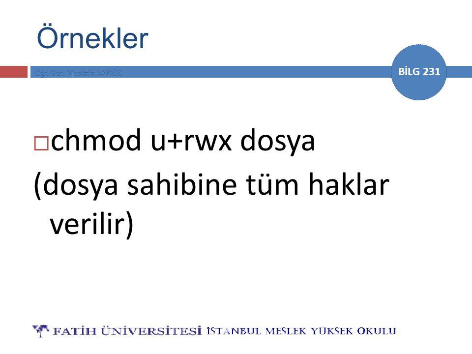 BİLG 231  chmod u+rwx dosya (dosya sahibine tüm haklar verilir) Örnekler