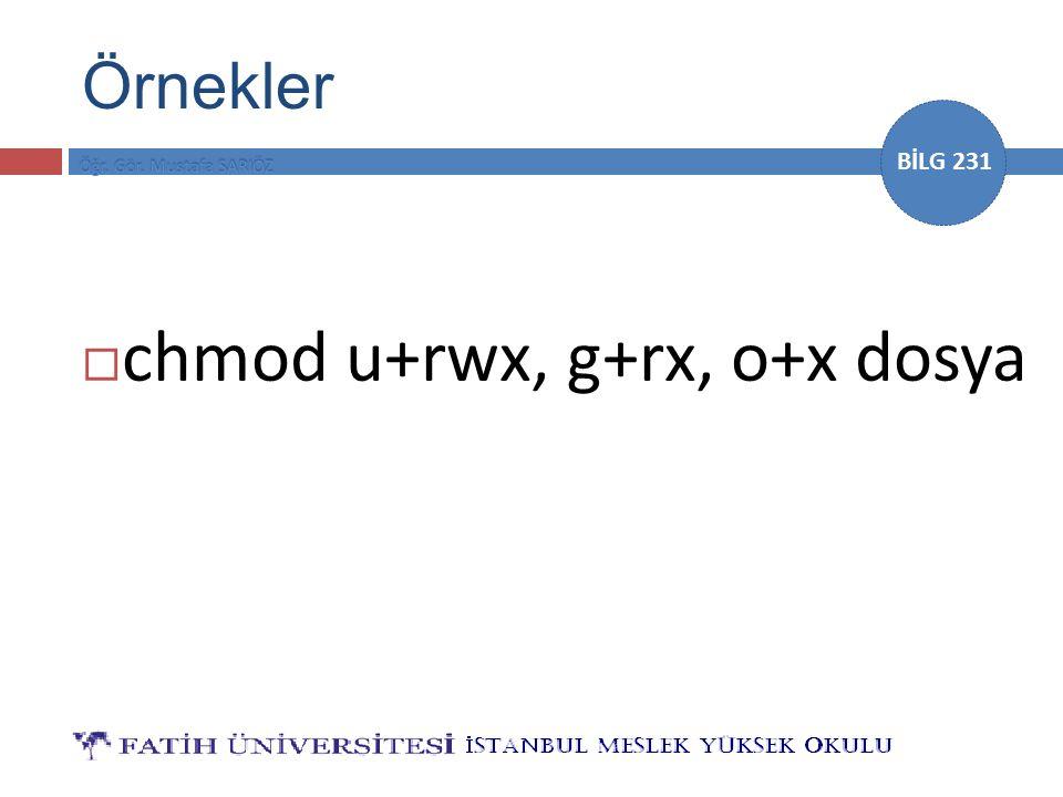 BİLG 231  chmod u+rwx, g+rx, o+x dosya Örnekler