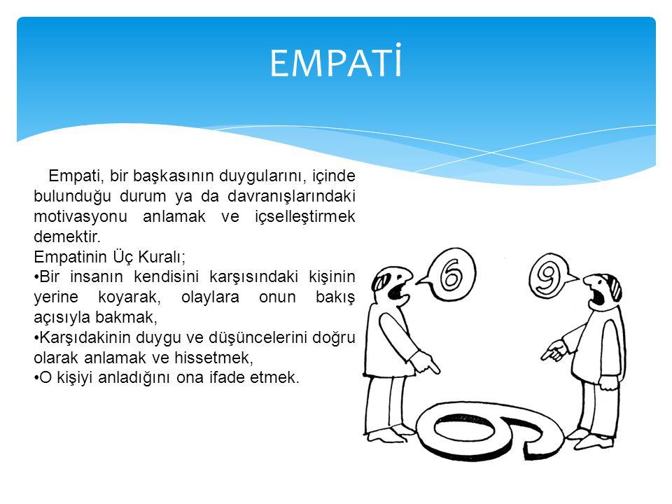 Empati, bir başkasının duygularını, içinde bulunduğu durum ya da davranışlarındaki motivasyonu anlamak ve içselleştirmek demektir. Empatinin Üç Kuralı