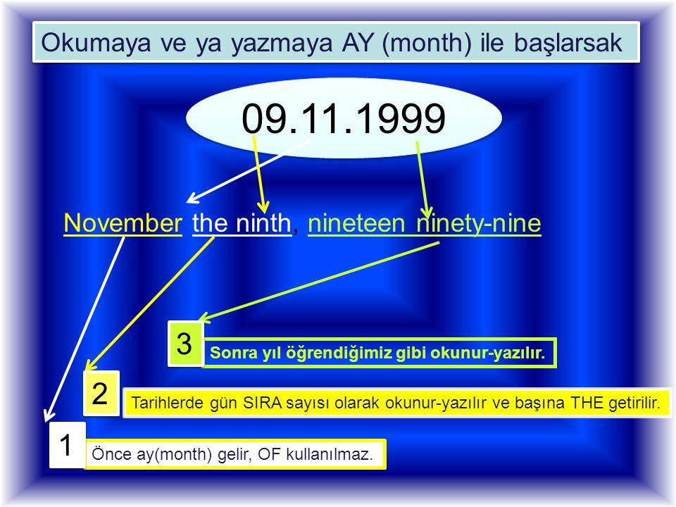 09.11.1999 09.11.1999 November the ninth, nineteen ninety-nine Tarihlerde gün SIRA sayısı olarak okunur-yazılır ve başına THE getirilir. Okumaya ve ya