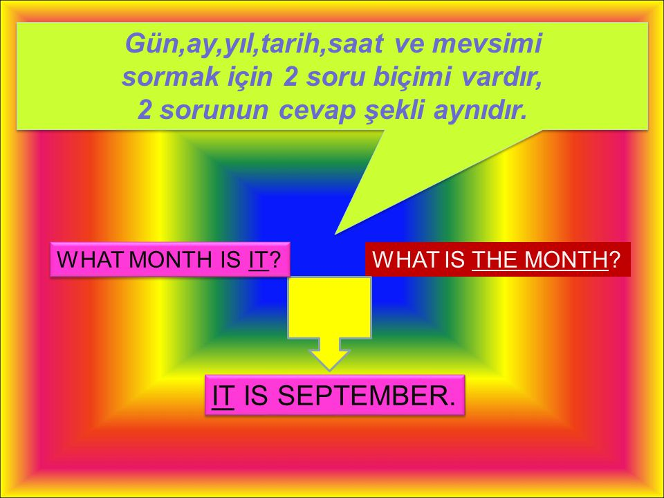 Gün,ay,yıl,tarih,saat ve mevsimi sormak için 2 soru biçimi vardır, 2 sorunun cevap şekli aynıdır.